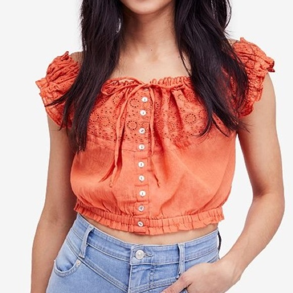 846ac76a1fe823 Free People Tops | Eyelet You A Lot Top | Poshmark